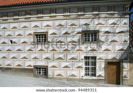 renaissance house covered by sgraffito plaster - stock photo
