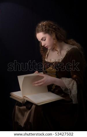 renaissance style girl portrait like a paynting - stock photo