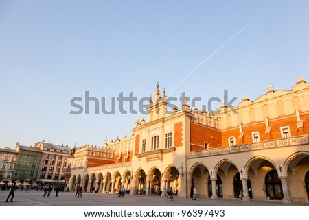 Renaissance Sukiennice (Cloth Hall, Drapers' Hall) in Krak���³w, Poland, is one of the city's most recognizable icons. - stock photo