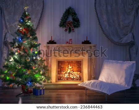 Render Christmas Room Interior Design, 3D - stock photo