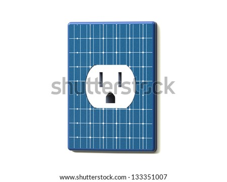 Render Concept of Clean energy from Solar Power - stock photo