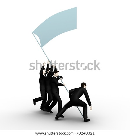 Render group of businessmans have lifted the victorious flag of command work - stock photo