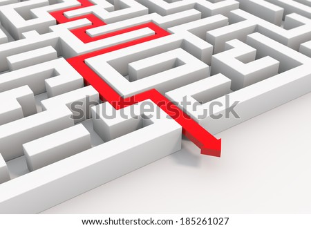 render illustration of a 3d red arrow leading through a maze - stock photo