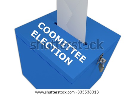 Render illustration of Committee Election title on ballot box, isolated on white. - stock photo