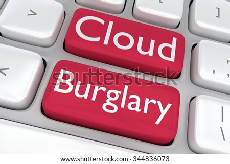 Render illustration of computer keyboard with the print Cloud Burglary on two adjacent red buttons - stock photo