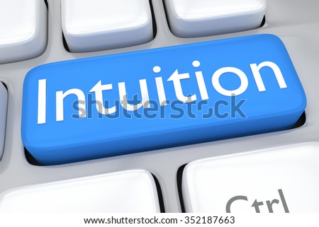 Render illustration of computer keyboard withthe print Intuition on a pale blue button - stock photo