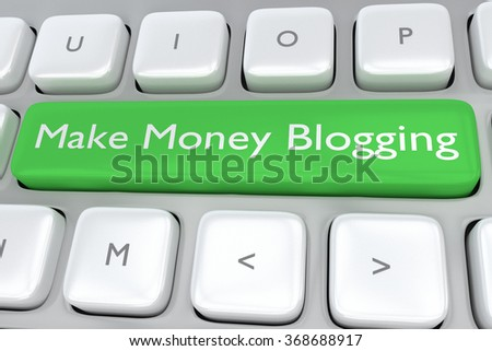 Render illustration of computer keyboard with the print Make Money Blogging on a green button - stock photo