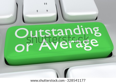 Render illustration of computer keyboard with the print Outstanding or Average on a green button - stock photo
