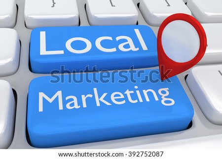 Render illustration of computer keyboard with the script Local Marketing and location icon on two adjacent pale blue buttons. Local Marketing concept. - stock photo