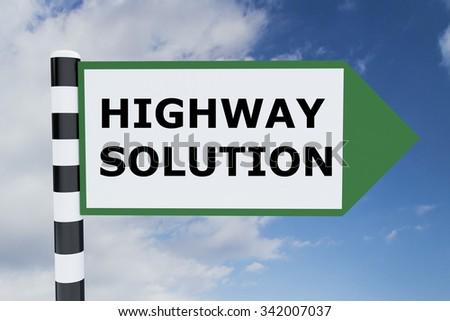 Render illustration of Highway Solution Title on road sign  - stock photo