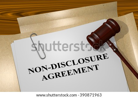 Render illustration of Non-disclosure Agreement title on Legal Documents - stock photo
