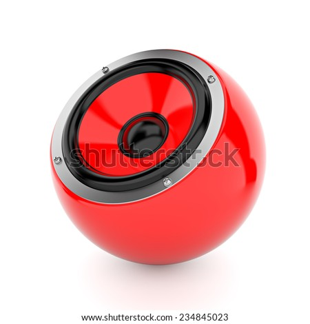 Render illustration of yellow sound speakers on ball - stock photo