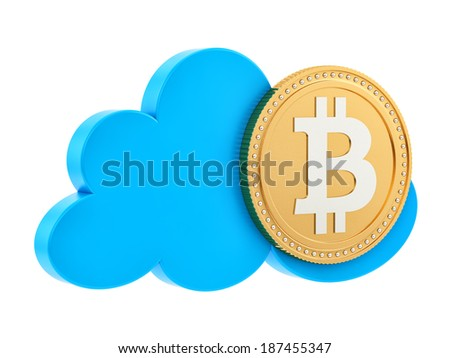 render of a bitcoin in the cloud, isolated on white - stock photo