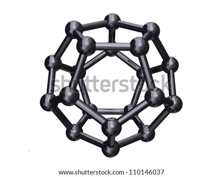Render of a chrome C20 Cage Fullerene Isolated on a white bacground - stock photo