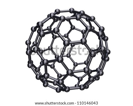 Render of a chrome C80 Fullerene Isolated on White - stock photo