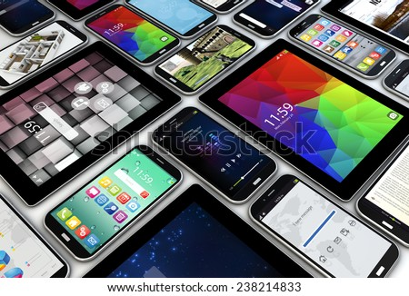 render of a collection of smartphones and tablets with different screens - stock photo