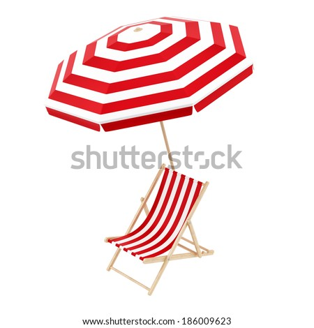 render of a deck chair with umbrella, isolated on white - stock photo