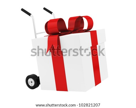 render of a gift box on a hand truck, isolated on white - stock photo