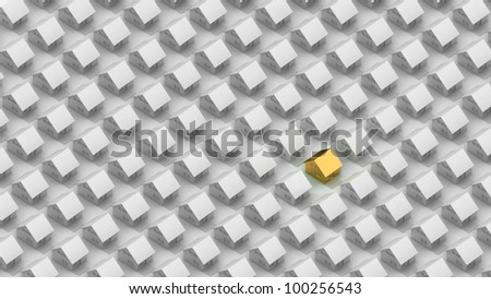 Render of a gold house between the silver houses in orthographic view. - stock photo
