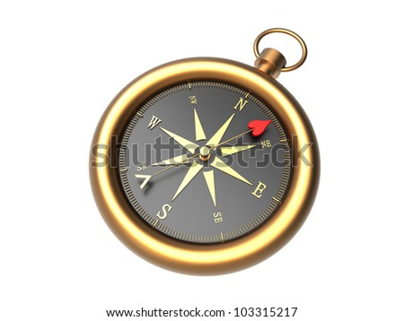 Render of a golden compass showing the direction to love isolated on a white background - stock photo
