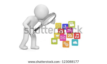 render of a man analyzing apps - stock photo