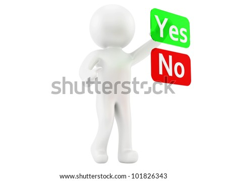 render of a man and yes/no buttons - stock photo
