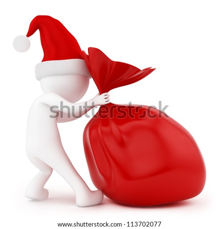 render of a man pulling a bag of gifts, isolated on white - stock photo