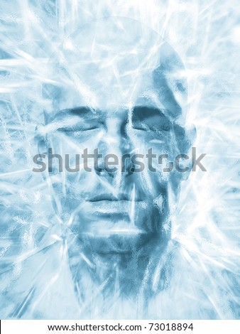 Render of a man's head frozen in a block of ice - stock photo