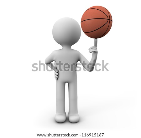 render of a man with a basket ball - stock photo