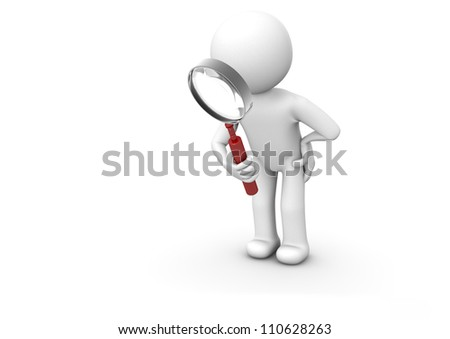 Render of a man with a magnifying glass - stock photo