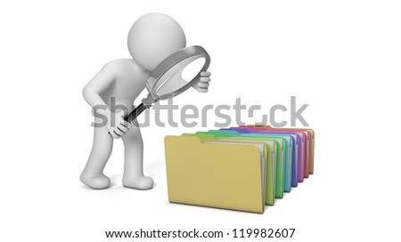 render of a man with a magnifying glass looking to a group of folders - stock photo