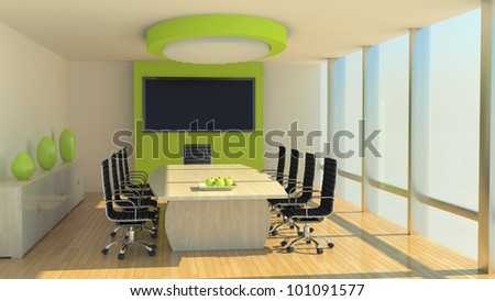 render of a meeting room at daylight - stock photo
