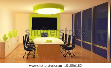 render of a meeting room at night - stock photo