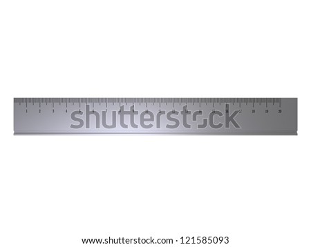 Render of a metal ruler isolated on a white background - stock photo