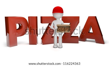 render of a pizza guy and the text pizza - stock photo