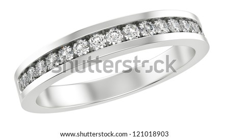 render of a ring with diamonds, isolated on white - stock photo