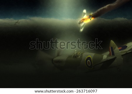 Render of a ww2 Supermarine Spitfire 3D model in flight - stock photo