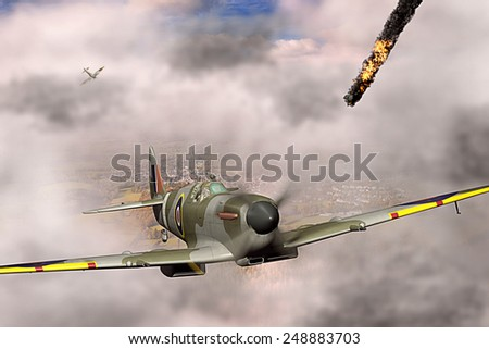 Render of a ww2 Supermarine Spitfire 3D model in flight after a victory over German plane on fire - stock photo