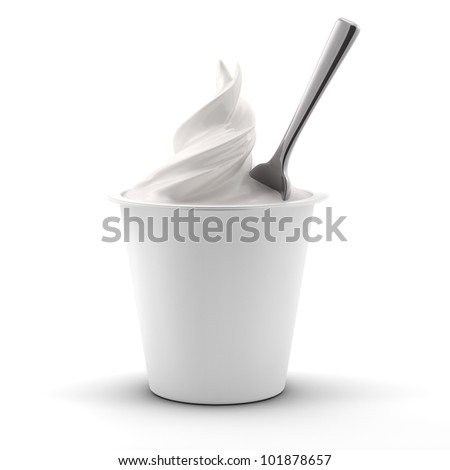 render of a yogurt jar with spoon isolated on white background - stock photo