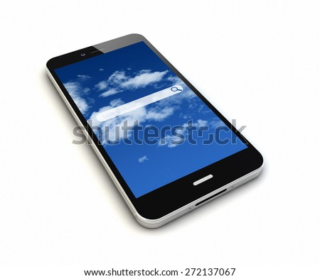 render of an original smartphone with online search application on the screen - stock photo