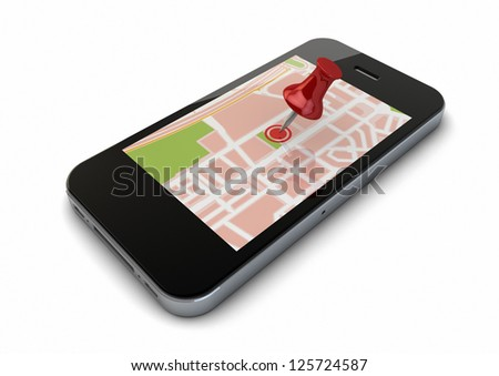 render of an smart phone with a map and a pin on the screen - stock photo