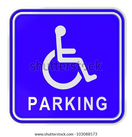 render of blue disabled icon on white - stock photo