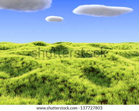 Render of bright a grass field and clouds - stock photo