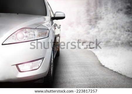 render of car without a trade brand road of snow  - stock photo