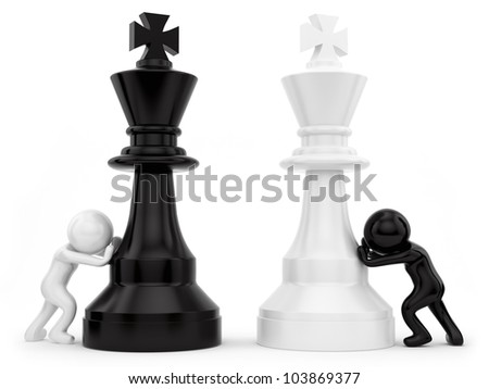 render of chess pieces - stock photo