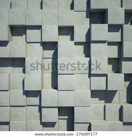 Render of  concrete cubes. 3d background. - stock photo