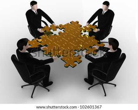 Render of 3d business team work building a puzzle on white - stock photo