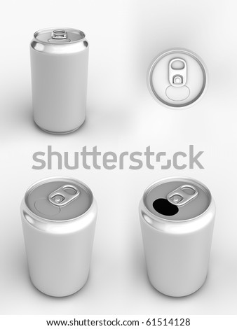 Render of different views of an aluminum can over white - stock photo