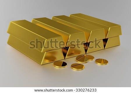 Render of Gold bars and gold coins - stock photo