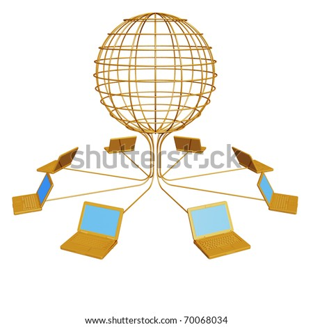 Render of gold computers are connected in global system - stock photo